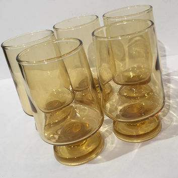 Yellow Mod Cocktail Glasses Set of 5 Footed Liquer Glasses| Cordial Glasses
