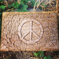 Carved Wooden Peace Box