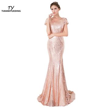 TIANMIYUEDING 2017 Rose Gold Sequin Mermaid Bridesmaid Dresses Short Sleeves Backless Long Vestidos De Madrinha Cheap