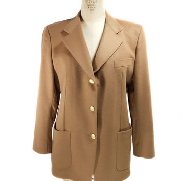1990s Thomas Burberry Blazer / Camel Tan / Wool Cashmere Blend / Office Fashion / Womens Vintage Blazer Jacket / Size 48 / Size 14