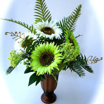 Silk Floral Table Arrangement Centerpiece in Cream and Green Sunflowers