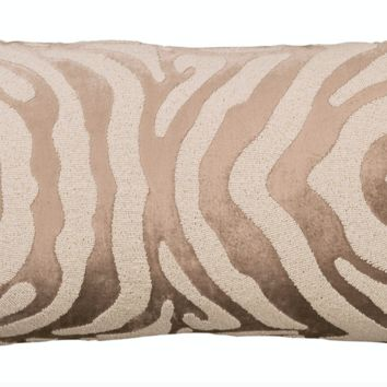 Zebra Fawn and White Large Rectangle Pillow by Lili Alessandra