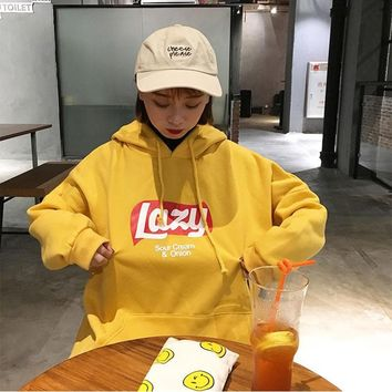 Fashion Style Women Hooded Tracksuit Harajuku Lazy Letter Thick Sweatshirt Tops Fashion Loose Fleece Hoodie Sweatshirt Meletom
