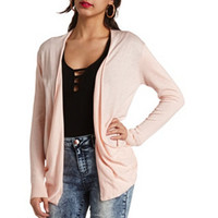 RUCHED-SIDE OPEN CARDIGAN SWEATER