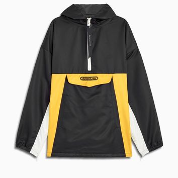anorak windbreaker / black + yellow + ivory