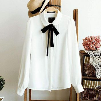 Women's Lace Bow Tie School Blouse Casual White Blouses Chiffon Collar Shirt Ladies' Tops Plus Size