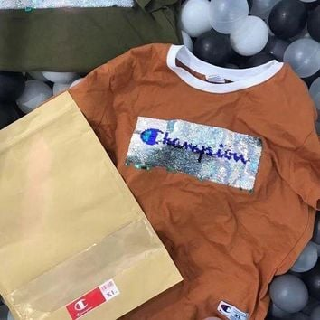 Champion New Fashion Sequin Shining Bust Logo Tee Shirt Full Color Lapel Top Four Color-Coffee