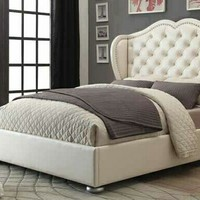 Clarice collection cream leatherette tufted upholstered contemporary style queen bed