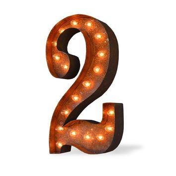 """24"""" Number 2 (Two) Sign Vintage Marquee Lights"""