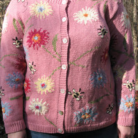 Tacky sweater, ugly sweater, pink sweater, spring sweater, flowery sweater, tacky christmas sweater, hand knit sweater, tacky sweater party