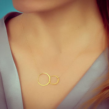 "Double circle necklace, infinity necklace, gold circle necklace, 14k gold filled, ring necklace, bridesmaid necklace, ""Two Circles"" Necklace"