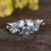 1.8 Carat Round Aquamarine Diamond Engagement Ring 14k White Gold Flower Marquise Cut Retro Vintage