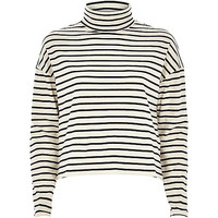 River Island Womens Cream stripe boxy roll neck top