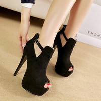 Women Faux Leather Open Toe Peep Pumps Stiletto Shoes
