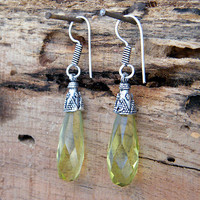 "2.04"" Yellow Quartz Earrings, Silver Earring  Jewelry Handmade, Lemon Quartz Earrings S-183"