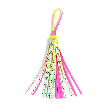 Leather Tassel Bag Charm - Large Neon Bright Eyes