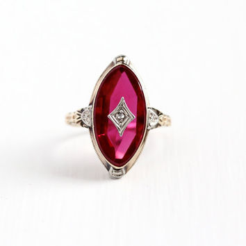 Vintage 10k Rosy Yellow & White Gold Art Deco Diamond Created Ruby Ring - 1930s Size 6 1/2 Red Pink Stone Two Tone Statement Fine Jewelry