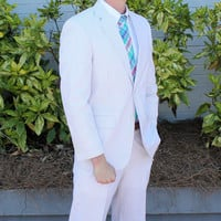 Farmington Plain-Front Suit in Tan Seersucker by Country Club Prep