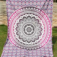 India Mandala Pink/Grey Beach Throw, Bed Manta, Yoga Mat,Tapestry 210*150cm