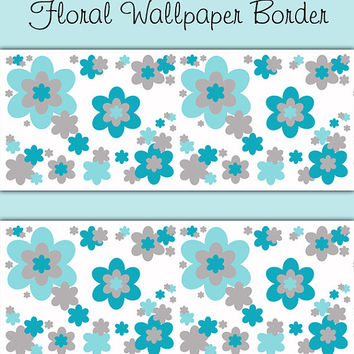 Turquoise Blue Gray Grey Floral Wallpaper Border Wall Decals Baby Girl Flower Garden Nursery Kids Room