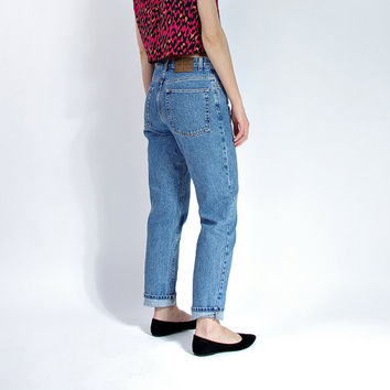 80s Calvin Klein High Waisted Jeans / Kate Moss Style / Classic Minimalist Denim Mom Jeans / Size 32 x 30
