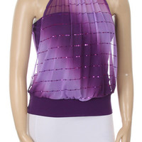 Double Glitter Stripe Top - Purple - Plus Size - 1x - 2x - 3x