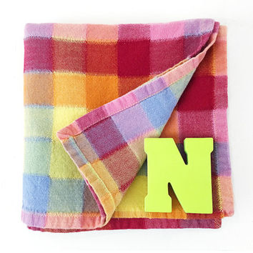 Set of 4 Buffalo Plaid / Checked Napkins / Placemats / Vintage Bohemian Cloth Pads / Colorful Rainbow Pastels / Fun, Everyday Linens
