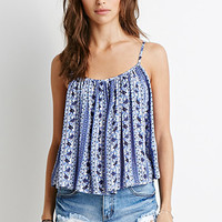 Floral Diamond Print Pleated Cami