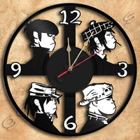 Wall Clock Gorillaz Version2 Vinyl Record Clock Upcycled Gift Idea