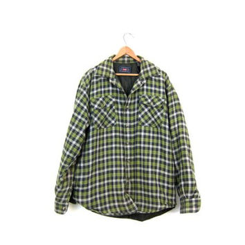 Insulated Flannel Jacket GREEN Plaid Flannel Shirt Button Up Quilted Lined Shirt Thick Flannel Coat Mens Utility Work Shirt Medium