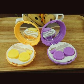 Small Glasses Cosmetic Contact Lenses Box Contact Lens Case for Eyes Care Kit Holder Container Color Random P15