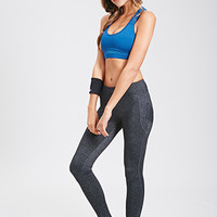 FOREVER 21 Heathered Performance Leggings Charcoal/Charcoal