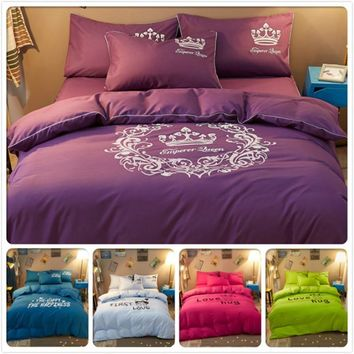 Winter Aole Cotton 3/4 pcs Bedding Set Full King Queen Twin Double Single Size Duvet Cover 1.5m 1.8m 2m 2.2m Bedsheet Bedclothes
