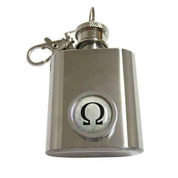 Bordered Mathematical Greek Omega Symbol 1 Oz. Stainless Steel Key Chain Flask