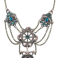 Restyle Victorian Steampunk Pirate kraken & Boat wheel Faux Green Emerald Statement Necklace