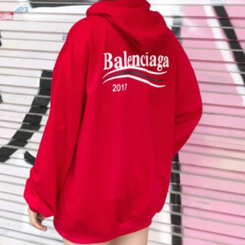 Balenciaga New fashion hoodie with wavy stripes and long sleeves men and women top Red
