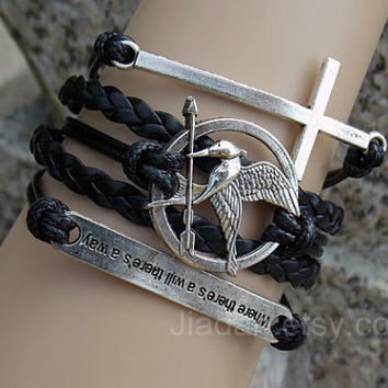 Mockingjay pin bracelet,catching fire bracelet,leather bracelet,cross bracelet,Inspirational bracelet,where there's a will there's a way,hot
