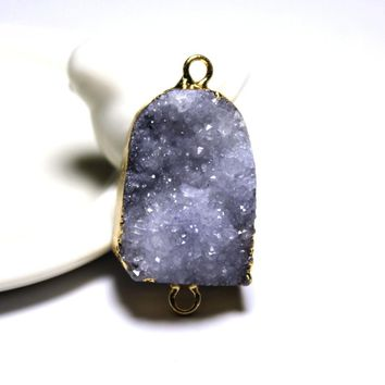 Natural Grey Crystal Druse Irregular Geode Black Pendant