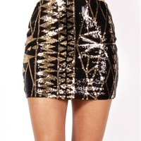 Black/Gold Triangle Design Sequin Skirt