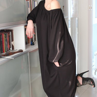 Handmade oversized/plus size/one size Black elastic cotton tricot long maxi spring summer caftan dress
