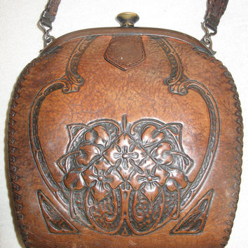 Antique Vintage Deco Tooled Leather Western Frontier Prairie Bag Purse From 1920's Or Earlier