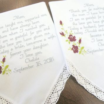 Mom and Future Mother In-Law from Bride and Fiance from Daughter and Son Wedding Gifts By Canyon Embroidery