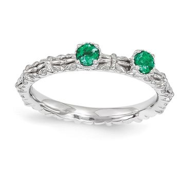Sterling Silver Stackable Created Emerald Round Two Stone Ring
