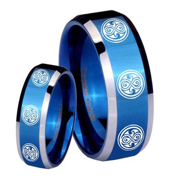 His Her Shiny Blue Bevel Multiple Doctor Who Two Tone Tungsten Wedding Rings Set