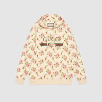 ONETOW GUCCI Rose Print Hooded Cotton Sweatshirt