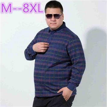 plus size 10xl 8xl 6xl 5xl Men's British Fashion Men's Casual Slim Long Sleeved Men Polo Shirt Turn-down Collar Mens Polo Shirts