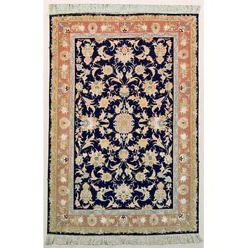 Oriental Tabriz Fine Persian Natural Wool and Silk Rug, Blue/Orange