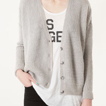 KNITTED TEXTURED GRUNGE CARDI