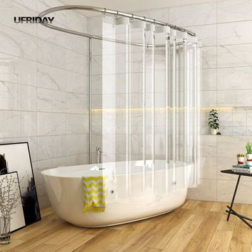 UFRIDAY Shower Curtain Waterproof for Home Hotel Crystal Clear Bathroom Curtain Eco-Friendly with 3 Magnetic Bottom Bath Curtain
