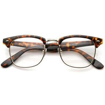 CREYON Day First Leopard Vintage Inspired Classic Horned Rim Half Frame Clear Lens Glasses